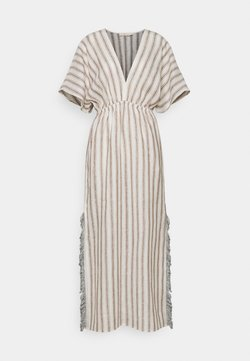 Tory Burch - STRIPED CAFTAN - Maxikleid - ivory/anise brown