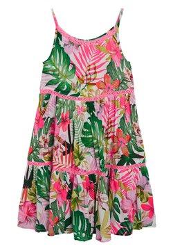 Next - PINK/GREEN PALM PRINT TIERED DRESS - Freizeitkleid - pink