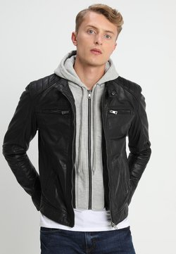 Serge Pariente - SEAN - Skinnjakke - black/light grey hood
