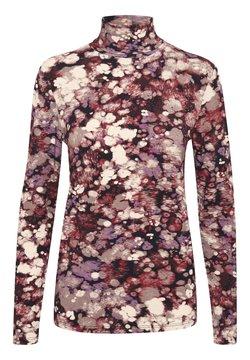 Soaked in Luxury - SLHANADI PRINTED ROLLNECK LS - Langærmede T-shirts - brown splash print