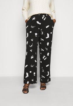 CAPSULE by Simply Be - MONO PRINT WIDE LEG TROUSERS LONG - Pantalones - black/ivory