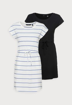 Vero Moda Petite - VMAPRIL SHORT DRESS 2 PACK - Jersey dress - black/snow white/dazzling blue