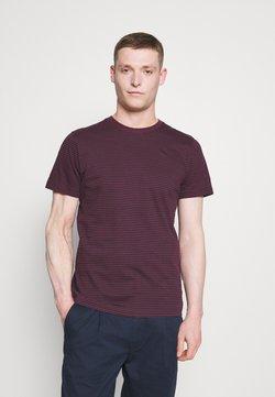 Selected Homme - SLHNORMAN STRIPE O NECK TEE - T-Shirt print - winetasting/black