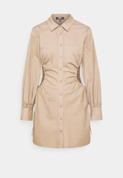 Missguided Tall - RUCHED CUT OUT MINI SHIRT DRESS - Skjortekjole - taupe