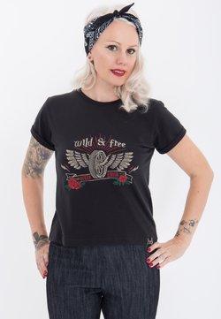 Queen Kerosin - MIT FRONT UND RUN - T-shirt print - schwarz