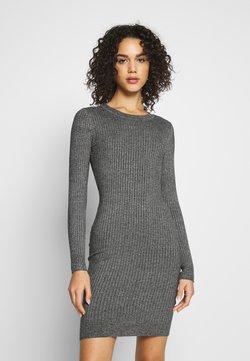 Even&Odd - Knitted jumper mini high neck dress - Robe fourreau - grey melange