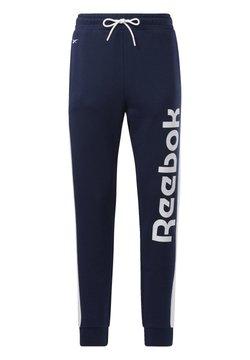Reebok - TRAINING ESSENTIALS LINEAR LOGO JOGGERS - Jogginghose - blue