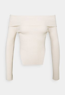 Gina Tricot - OFELIA OFF SHOULDER - Strickpullover - warm white