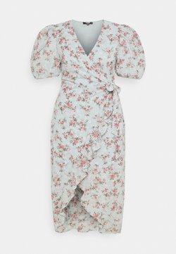 Missguided Plus - FLORAL BRODERIE WRAP HIGH LOW DRESS - Vapaa-ajan mekko - blue