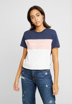 Tommy Jeans - STRIPE LOGO TEE - T-Shirt print - classic white/multi