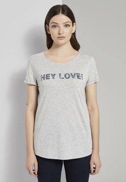 TOM TAILOR DENIM - T-SHIRT T-SHIRT MIT PAILLETTEN-SCHRIFTZUG - T-Shirt print - light silver grey mélange
