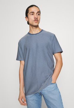 Selected Homme - SLHRELAXTRISTAN STRIPE O NECK  - T-Shirt print - federal blue/egret