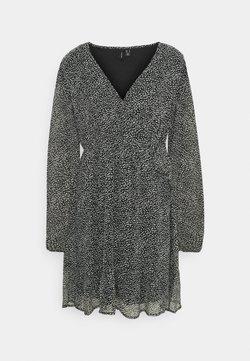Vero Moda - VMHIBISCUS WRAP TIE DRESS - Freizeitkleid - black/snow white