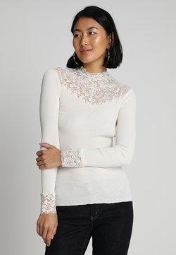 Rosemunde - SILK-MIX T-SHIRT WITH LACE - Langærmede T-shirts - ivory