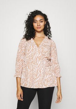 Forever New Curve - MARGOT CURVE PUFF SLEEVE WRAP - Bluse - natural mixed