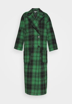 Missguided - CHECKED OVERSIZED FORMAL COAT - Abrigo - green