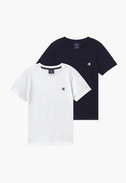 Champion - LEGACY BASICS CREW-NECK UNISEX 2 PACK  - T-Shirt basic - white/dark blue