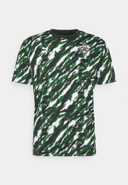 Puma - BORUSSIA MÖNCHENGLADBACH ICONIC GRAPHIC TEE - Equipación de clubes - black/white/amazon green