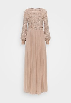Maya Deluxe - BLOUSON SLEEVE DELICATE SEQUIN MAXI DRESS WITH RUFFLES - Robe de cocktail - taupe blush