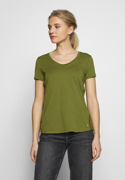 Marc O'Polo - SHORT SLEEVE ROUNDED V-NECK RAW-CUT DETAILS - T-Shirt basic - seaweed green