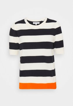 CHINTI & PARKER - JEANNE PUFF SLEEVE - T-Shirt print - cream/navy/orange