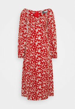 Missguided Tall - MILKMAID SHIRRED BUST MIDI FLORAL - Freizeitkleid - red