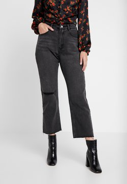 Missguided Petite - WRATH HIGH WAISTED DOUBLE SLIT RIP - Straight leg jeans - washed grey