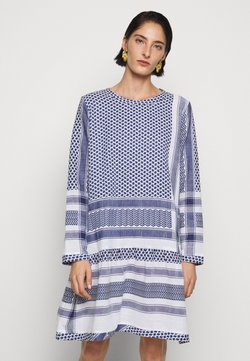 CECILIE copenhagen - DRESS LONG SLEEVES - Freizeitkleid - navy/white