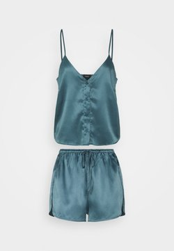 LASCANA - FLOWER SHORTY SET - Pyjama - petrol