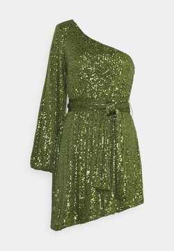 Glamorous - ASYMMETRICAL SEQUIN MINI DRESS WITH ONE LONG SLEEVE AND TIE DETA - Cocktail dress / Party dress - green