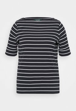 Lauren Ralph Lauren Woman - JUDY ELBOW SLEEVE - T-Shirt basic - lauren navy/white