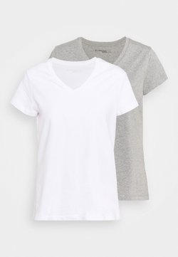 Even&Odd active - 2 PACK - T-shirt basic - white/grey