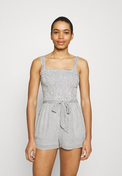 Abercrombie & Fitch - TIE STRAP SMOCKED ROMPER - Jumpsuit - light grey