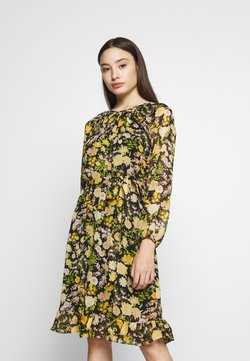 Wallis Petite - GARDEN FLORAL FRILL FIT AND FLARE DRESS - Sukienka letnia - black