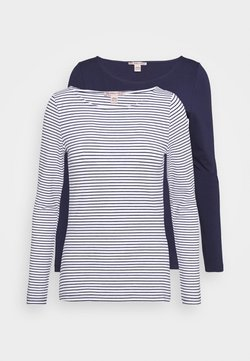 Anna Field - 2 PACK - T-shirt à manches longues - white/navy