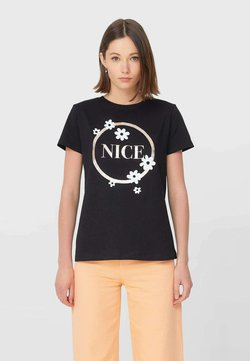 Stradivarius - T-shirt con stampa - black