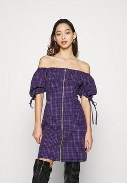 The Ragged Priest - CHECK MINI DRESS WITH TIES AND ZIP - Freizeitkleid - purple