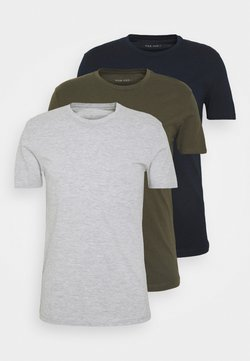 Pier One - 3 PACK - Camiseta básica - olive/dark blue/grey