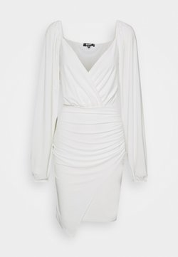 Missguided - BALLOON SLEEVE SLINKY V NECK DRESS - Kjole - cream