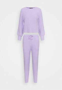 Missguided Petite - TEXTURED JUMPER AND JOGGER SET - Strickpullover - lilac