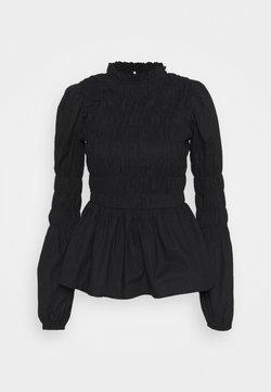 Dorothy Perkins - SHIRRED BODY LONG SLEEVE BLACK FLORAL TOP - Camicetta - black