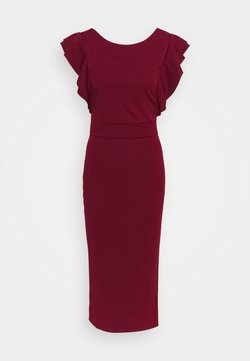 WAL G TALL - FRILL SLEEVE MIDI DRESS - Maxiklänning - wine