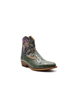 Fertini - Ankle Boot - khaki with silver paisley