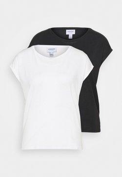 Vero Moda Petite - VMAVA PLAIN 2PACK - Camiseta básica - black/snow white