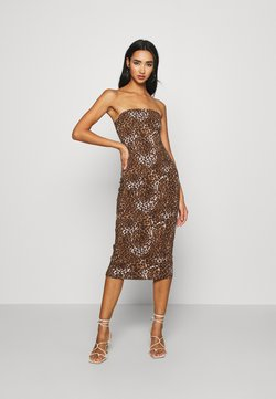 KENDALL + KYLIE - TUBE MIDI DRESS - Jerseyjurk - black/beige