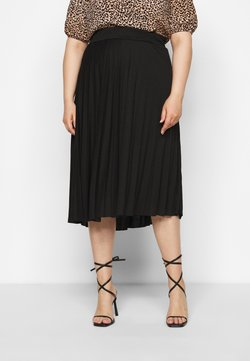 Dorothy Perkins Curve - CURVE PLEATED BLACK MIDI SKIRT - A-Linien-Rock - black
