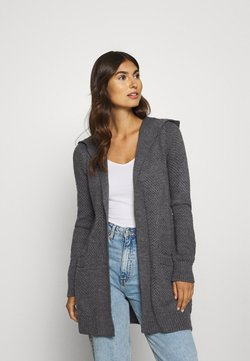 Anna Field - HOODED CARDI - Strickjacke - dark grey melange