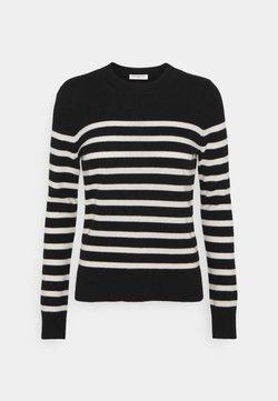 pure cashmere - STRIPE CREW NECK - Pullover - black
