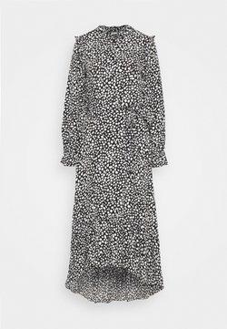 Missguided Tall - FRILL NECK MIDI SMOCK DRESS DALMATIAN - Shirt dress - black