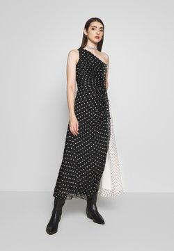 House of Holland - ONE SHOULDER POLKA GATHERED DRESS - Vestido de cóctel - black/white
